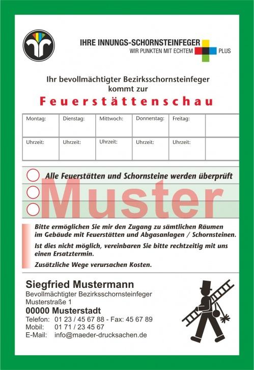 """AZ """"Feuerstättenschau"""" - DIN A6, Innungsfeger, mit Streifengummierung, mit Firmeneindruck"""