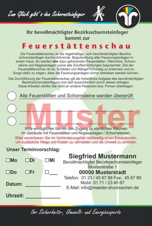 """AZ """"Feuerstättenschau"""" - DIN A6, """"Zum Glück..."""", mit Streifengummierung, mit Firmeneindruck, individuelles Design"""