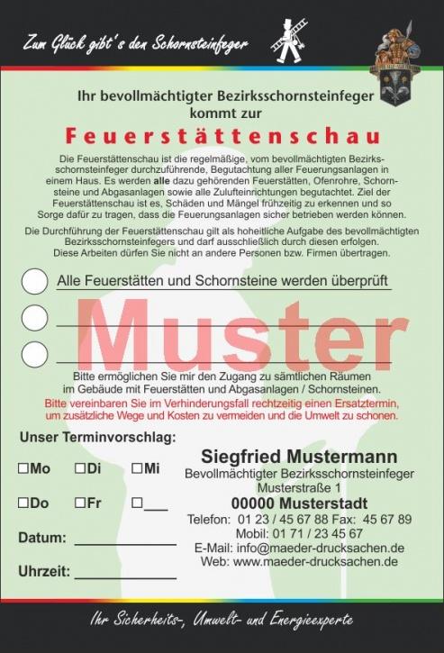 """AZ """"Feuerstättenschau"""" - DIN A6, """"Zum Glück..."""", mit Streifengummierung, Florian, mit Firmeneindruck"""