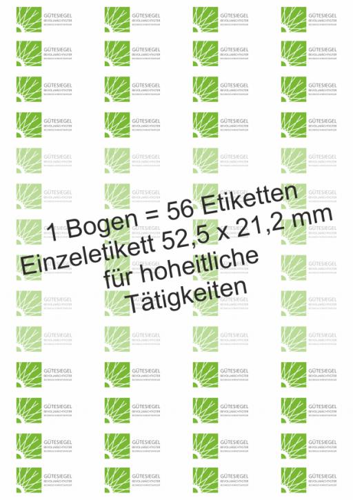 """Etiketten auf Bogen mit dem """"Gütesiegel Bevollmächtigter Bezirksschornsteinfeger"""""""