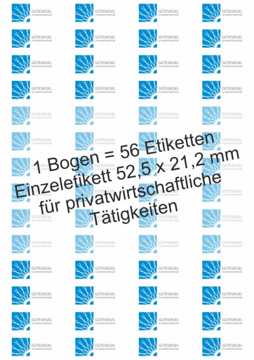 """Etiketten auf Bogen mit dem """"Gütesiegel Schornsteinfeger"""""""