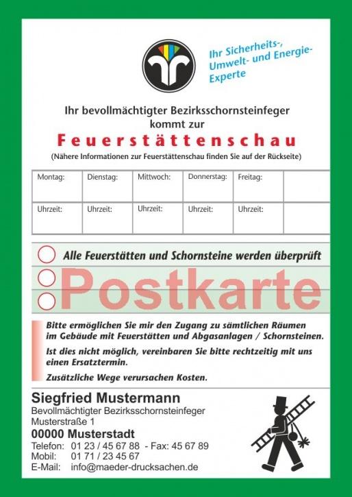 Ansagezettel als Postkarte, Feuerstättenschau, ZIV-Logo, Schornsteinfeger