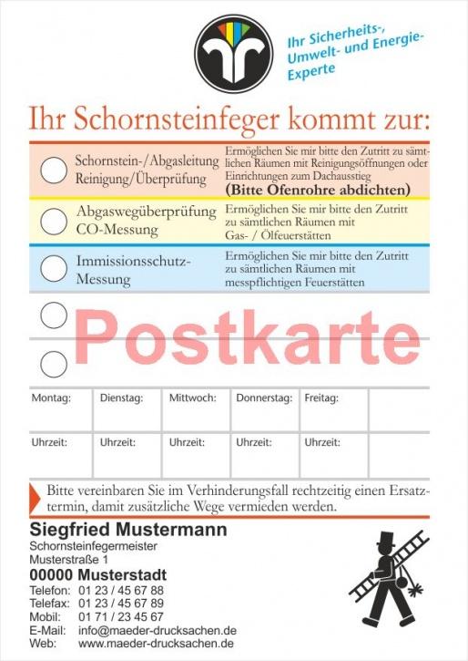 Ansagezettel als Postkarte, ZIV-Logo, Schornsteinfeger