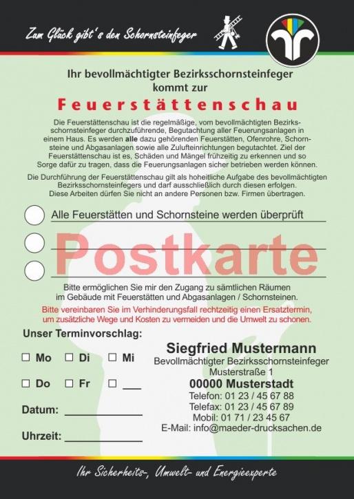 "Ansagezettel als Postkarte, ""Zum Glück..."", Feuerstättenschau, ZIV-Logo, Schornsteinfeger"