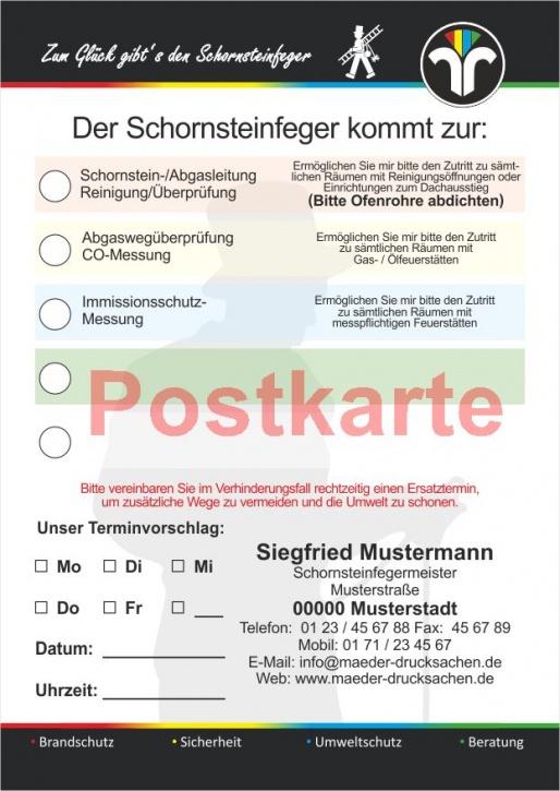 """Ansagezettel als Postkarte, """"Zum Glück..:"""" ZIV-Logo, Schornsteinfeger"""
