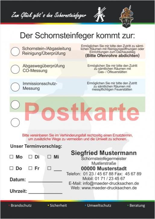 """Ansagezettel als Postkarte, """"Zum Glück..:"""" Florian, DIN A5, Schornsteinfeger"""
