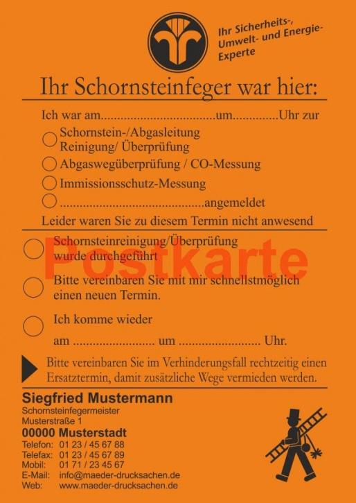 """Ansagezettel als Postkarte, """"Der Schornsteinfeger war hier ..."""" - Orange"""
