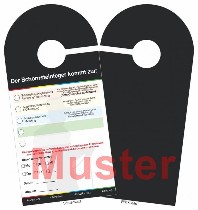 "Ansagezettel als Türanhänger, ""Der Schornsteinfeger kommt ..."""