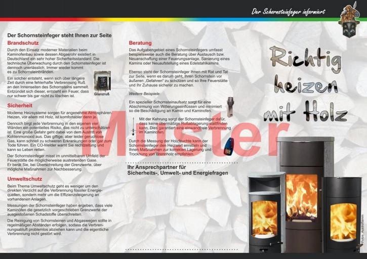 """Falz-Flyer """"Richtig heizen mit Holz"""", Florian, ohne Firmeneindruck"""