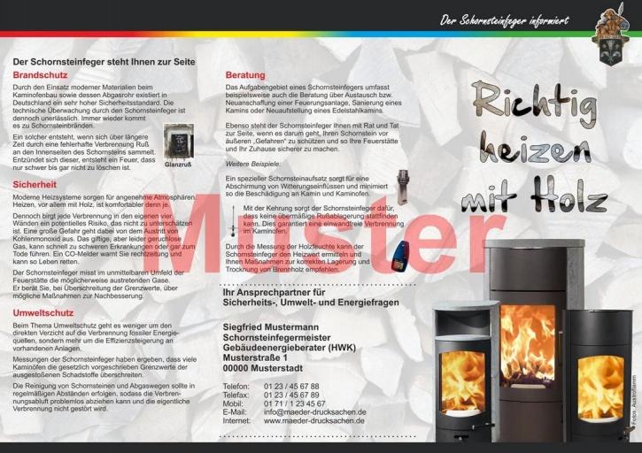 """Falz-Flyer """"Richtig heizen mit Holz"""", Florian, mit Firmeneindruck"""