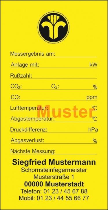 Kleine Kesselaufkleber für Öl-und Gasfeuerung geblockt, Papier gelb, Schwarzdruck mit Firmeneindruck