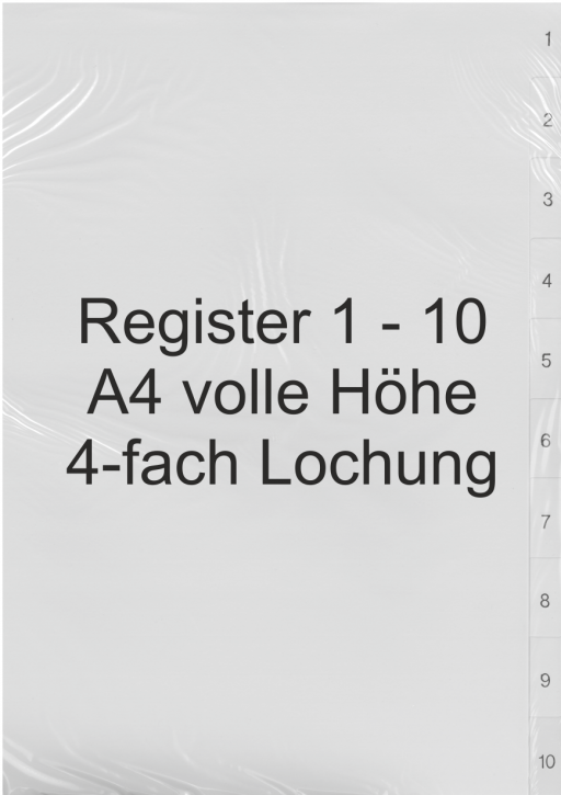 Register Zahlen 1-10