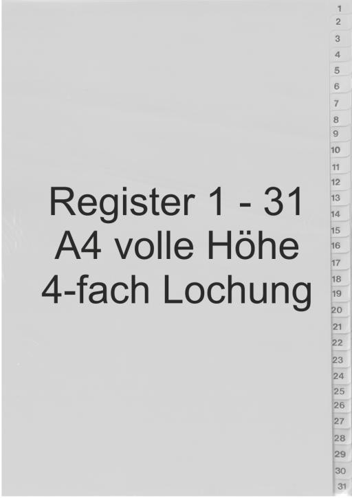 Register Zahlen 1-31